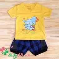 Picture of Combo 1 áo cổ tim Babiboo Kids cotton in lụa + 1 quần sọc phối Bozip (BB24+BB42)
