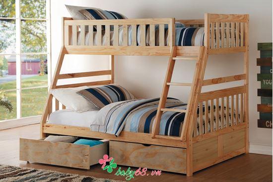 Picture of Giường tầng 1m4 BB014 màu gỗ có hộc kéo